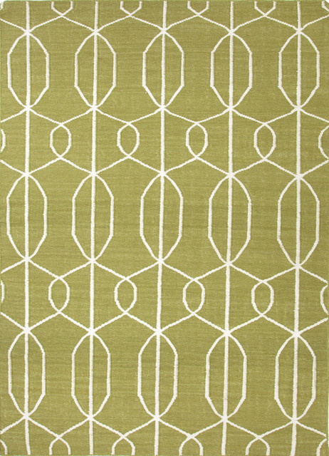 Flat weave geometric pattern wool green ivory area rug for Geometric print area rugs