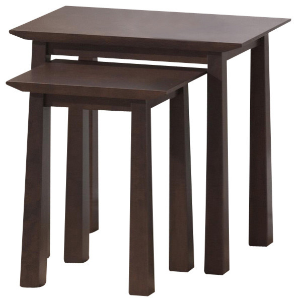 Baxton studio havana brown wood modern nesting table set for Modern nesting coffee tables
