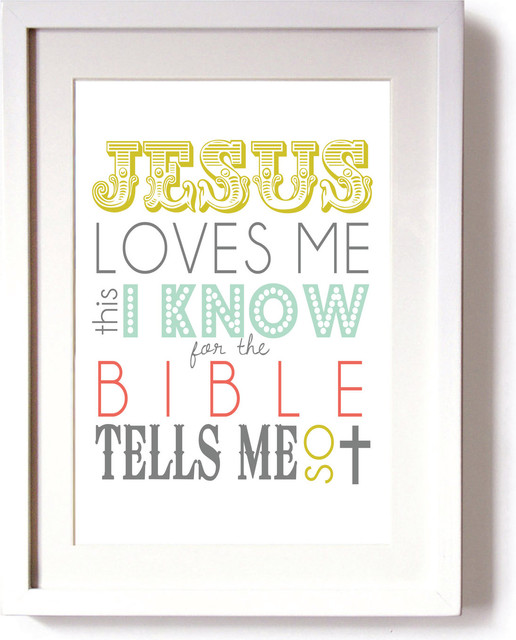 Nursery Wall Art, Jesus Loves Me This I Know Print by Beau Chic Prints + More contemporary nursery decor