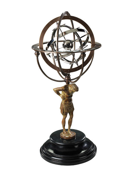 """Inviting Home - 18th C. Atlas Armillary - Atlas armillary sphere 10"""" x 22""""H An interesting mix of early science and Greek mythology: One of the legendary Titans battling Zeus was defeated and decreed to carry the weight of the world on his mighty shoulders till the end of time... Our armillary dial however has Atlas carrying the entire universe. That�s to say the known Renaissance universe when the earth was still believed to be at its center. Gracefully intertwined silver rings symbolize the position and trajectories of heavenly bodies around the earth. In all aspects ethereal science combined with beauty myth with historic fact."""