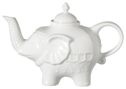 Elephant Teapot, White eclectic-teapots