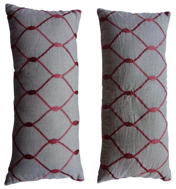 Decorative Pillows Retail : Beige Lumbar Pillows with Red Embroidery- Pair - $500 Est. Retail - $225 on Chai