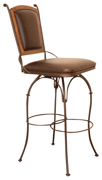 Artisan Home Swivel Armless Barstool With Bonded Leather Seat And Back 24 Inch Traditional