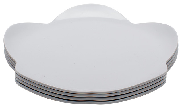 Zak Designs Flower Dessert Plates, White, Set of 4 contemporary-salad-and-dessert-plates