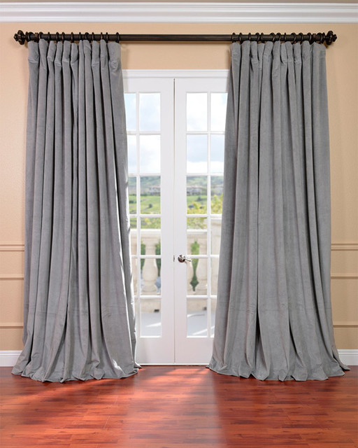 Silver Grey Velvet Blackout Extra Wide Curtain Panel