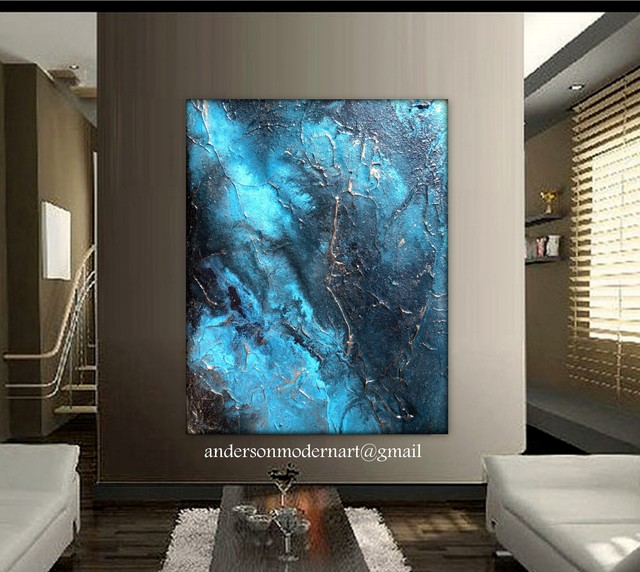 Large wall art contemporary artwork metal wall art aqua for Best brand of paint for kitchen cabinets with hanging canvas wall art