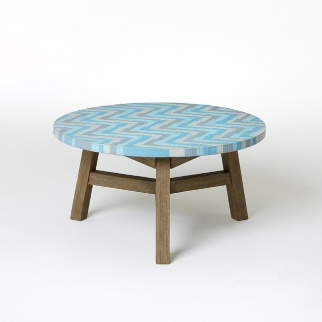 Mosaic Tiled Coffee Table Aqua Glass Modern Outdoor