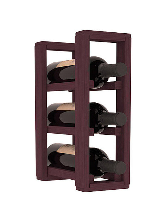 Wine Racks America® - 3 Bottle Counter Top/Pantry Wine Rack in Pine, Burgundy Stain - These counter top wine racks are ideal for any pantry or kitchen setting.  These wine racks are also great for maximizing odd-sized/unused storage space.  They are available in furniture grade Ponderosa Pine, or Premium Redwood along with optional 6 stains and satin finish.  With 1-10 columns available, these racks will accommodate most any space!!