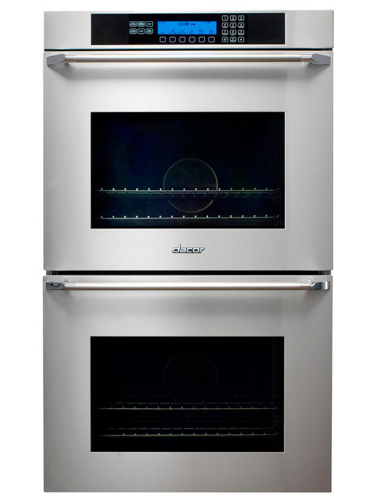 "Dacor 30"" Double Electric Wall Oven, Black Glass W/ Black Handle 