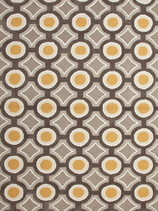 Jaipur Rugs - Modern Geometric Pattern Gold /Yellow Polyester Tufted Rug - BR31 - Dot's perfect! This mod dot-and-dash pattern creates the perfect spot of color for your room. And while it's smart enough to command attention on its own, it can also party gaily with other patterns in your décor, offering a bit of pop in the process.