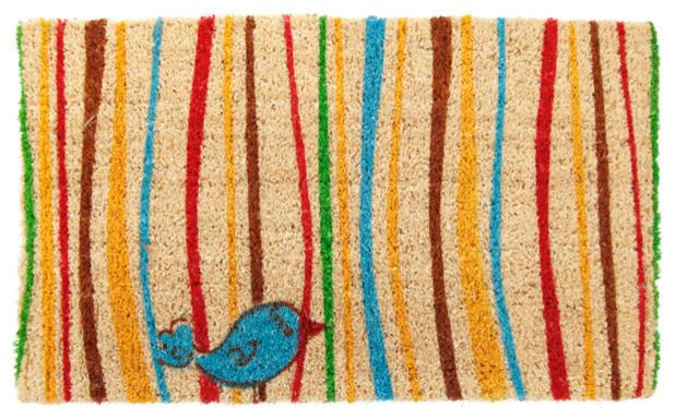 Little Groovy Bird Hand Woven Coconut Fiber Doormat eclectic-doormats