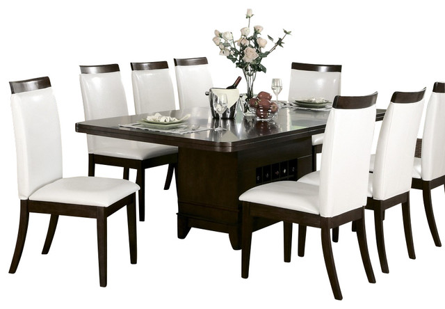 Homelegance elmhurst 10 piece pedestal dining room set for Set de table matelasse