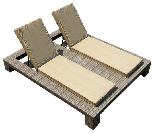 Hampton Double Adjustable Chaise Lounge Heather Wicker And Tan Cushions Contemporary