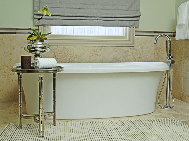 Contemporary Modern Bath with Chrome Floor Mounted Tub Filler contemporary-bathroom