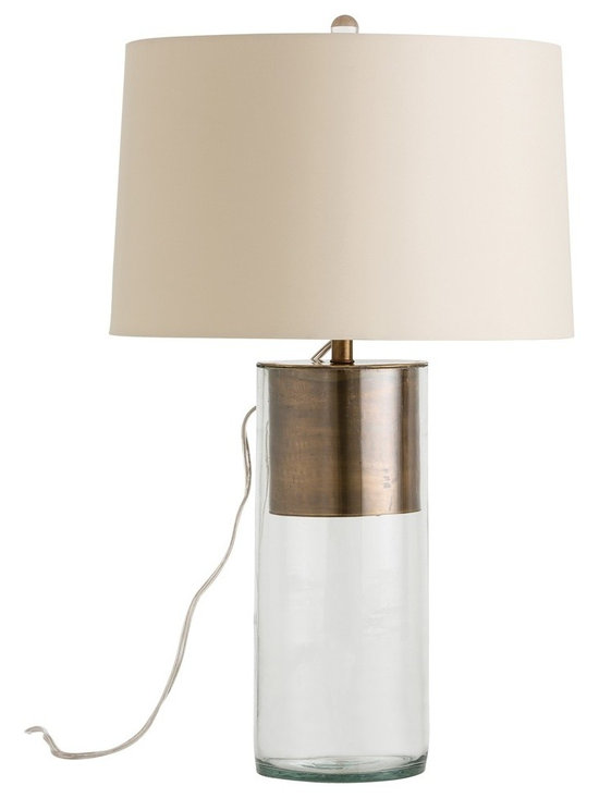 Arteriors Home - Jericho Table Lamp - Jericho Table Lamp features a simple Clear cylinder that has an Antique Brass insert and is topped by a Putty microfiber shade. One 150 watt, 120 volt A19 3-Way type medium base incandescent bulb is required, but not included. 16 inch width x 25.5 inch height.