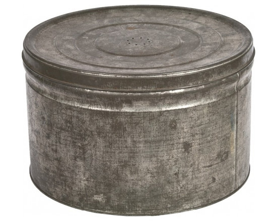Round Tin Storage Box - Vintage rustic tin storage box with removable, vented lid.