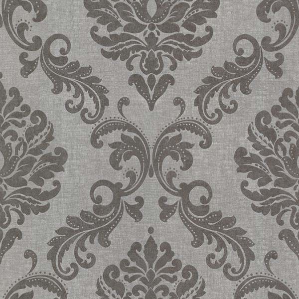 Sebastion Grey Damask Wallpaper Contemporary