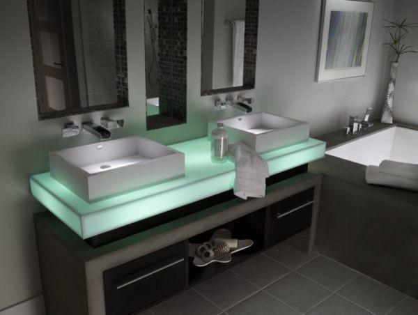 Illuminated vanity in Corian® Mint Ice. contemporary-bathroom-vanities-and-sink-consoles