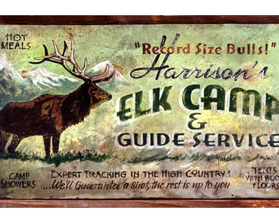 Red Horse Signs - Vintage Hunting Signs, Large Elk Camp Rustic Wood Sign, 20x32 - Vintage  Hunting  Signs  -  Elk  Camp  Rustic  Wood  Sign          A  favorite  for  hunters,  this  vintage  hunting  sign  featuring  an  Elk  Camp  and  guide  service  advertisement  is  perfect  for  rustic  lodge,  cabin  or  summer  home.  Printed  directly  to  distressed  wood  for  a  vintage  weathered  appeal,  choose  either  the  14x24  or  20x30  size  and  then  customize  for  a  truly  unique  sign  reflecting  your  particular  preferences.  Please  specify  name  to  replace  Harrison's  in  the  text  box  provided.  Original  sign  reads,  Harrison's  Elk  Camp  and  Guide  Service.  Record  Size  Bulls!  Hot  meals,  Camp  showers,  Tents  with  wood  floors.  Expert  tracking  in  the  high  country.We'll  guarantee  a  shot,  the  rest  is  up  to  you.  Please  allow  up  to  three  weeks  for  delivery.          Product  Specifications:                  Rustic  weathered  appeal              20x32              Printed  directly  to  distressed  wood              Customize  for  unique  style  and  presentation