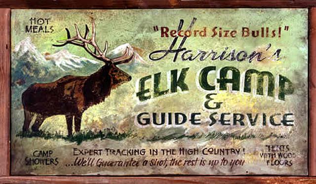 Vintage hunting signs large elk camp rustic wood sign for Vintage fishing signs