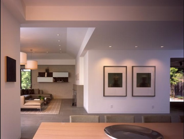 View from dining to living room contemporary