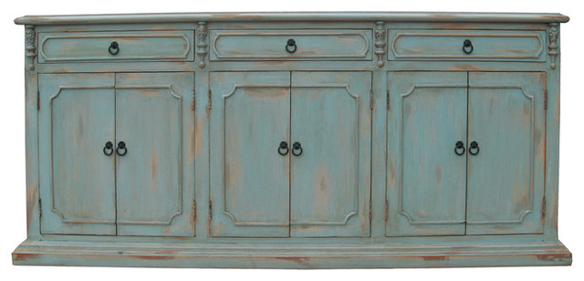 Narrow Sideboard, Distressed Pale Blue - Traditional - Buffets And ...