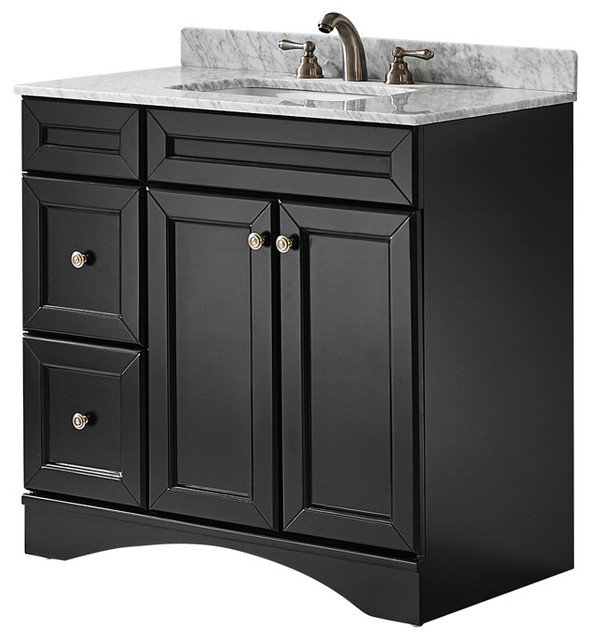 Modern Vanity Without Top : Naples single vanity with carrera white marble top