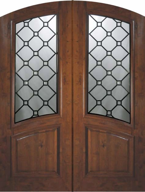 Slab entry double door 96 alder casablanca arch top arch for Exterior door slab