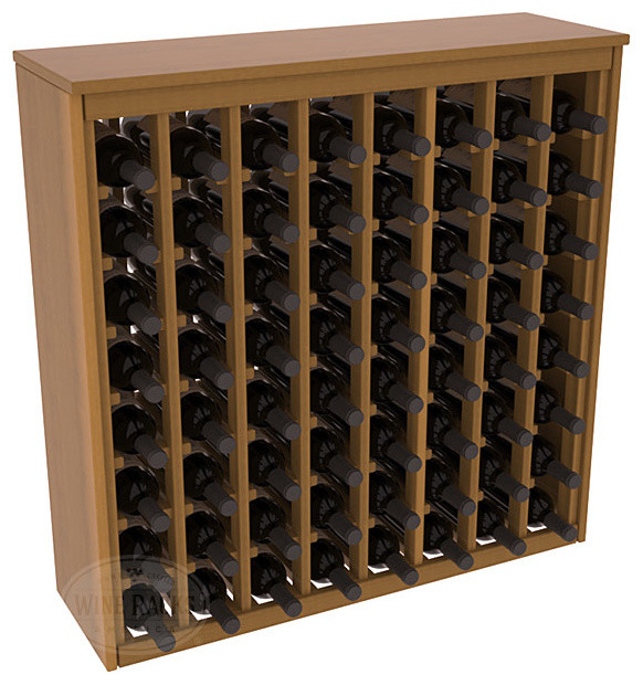 64 Bottle Deluxe Wine Rack in Redwood with Oak Stain + Satin Finish contemporary-wine-racks