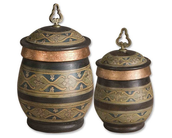 Uttermost - Hand Painted Terra Cotta Canisters With Copper Details Set of 2 - Hand Painted Terra Cotta Canisters With Copper Details Set of 2