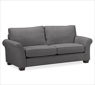 PB Comfort Upholstered Sofa, Box Cushion, Polyester Wrap Cushions, Everydaysuede traditional-pillows
