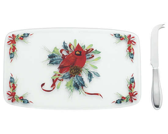 Lenox - Lenox Winter Greetings Glass Cheeseboard with Spreader - The beauty of Catherine McClung's festive Holiday artistry decorates this glass cheeseboard and Stainless steel knife. Ideal for Holiday entertaining. Makes a wonderful Gift,too.