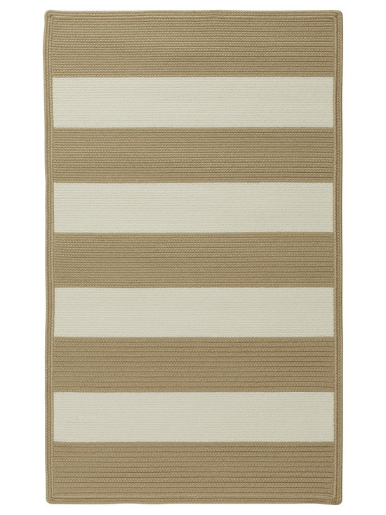 Cabana Stripes rug in Camel - Cabana Stripes is a Capel braided outdoor rug in an easy to use, natural color palette. This Capel Anywhere™ rug works well with today's outdoor fashion fabrics.
