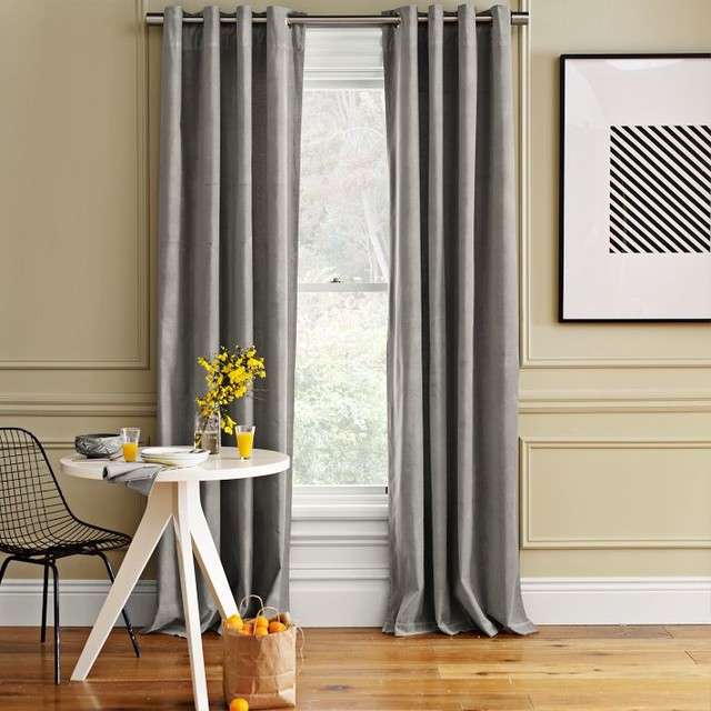 Velvet grommet window panel dove gray traditional for West elm window treatments