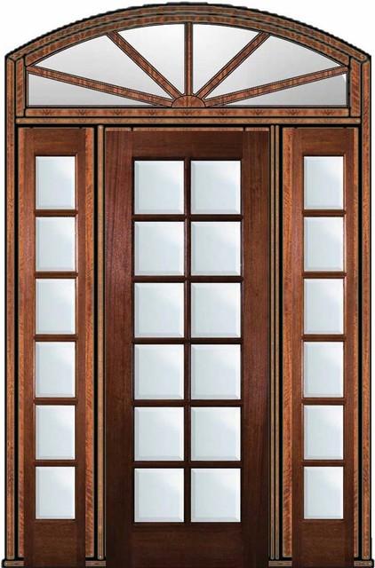 Pre Hung Patio Sidelights Transom Door 96 Mahogany Full Lite 12 Lite Traditional Patio Doors