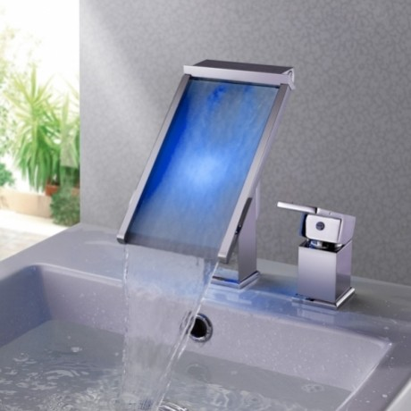 ... Color Waterfall LED Bathroom Sink Faucet Single Hole modern-bathroom