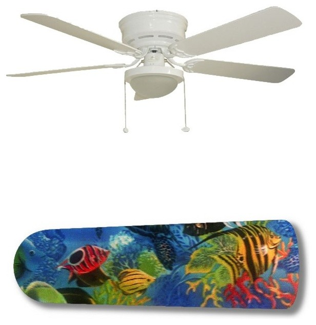 """Minka Aire 52 Gauguin Tropical 4 Blade Indoor Outdoor: Tropical Fish Coral Reef 52"""" Ceiling Fan With Lamp"""