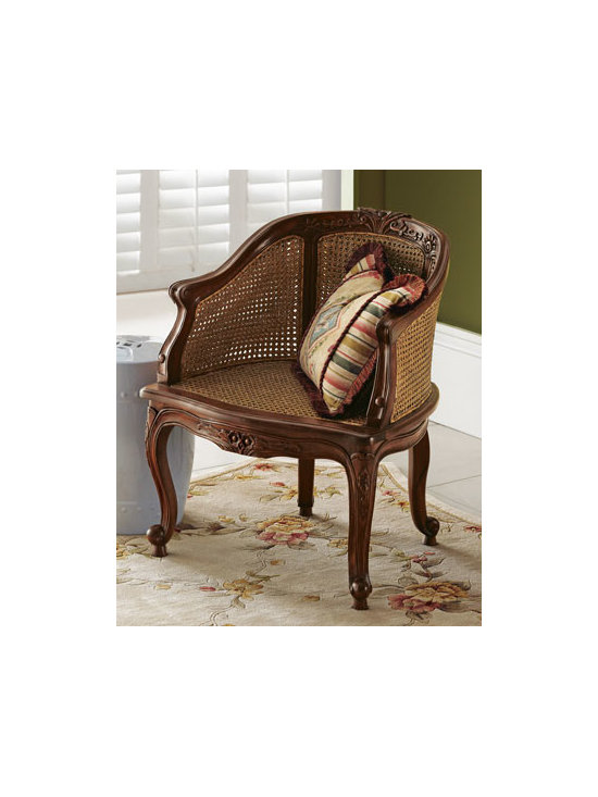 """Horchow - Cane Armchair - Cool Cane Armchair has a carved mahogany frame with a walnut finish to form a comfortable chair with breezy style. 26.5""""W x 22""""D x 32""""H. Imported."""