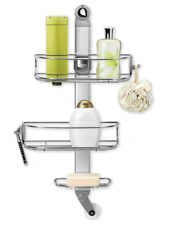 simplehuman - Adjustable Shower Caddy - Here's a shower caddy that actually looks good — and is designed to stay that way. Corrosion-resistant shelves slide up and down and left and right to accommodate your shampoos or soaps of any size. The rubberized clamp at the top affixes securely to a showerhead without damaging fixtures (or toppling on unsuspecting bathers).