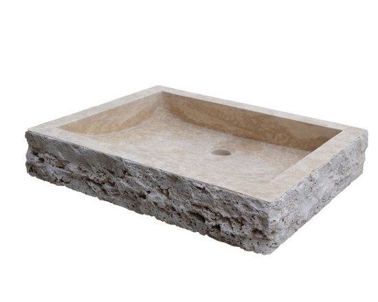 TashMart - Chiseled Rectangular Natural Stone Vessel Sink, Light Travertine - The Chiseled Rectangular Vessel Sink in light travertine is made from one solid piece of natural stone.  This sink has a chiseled outside edge that adds to the natural beauty of the sink.  This sink is the perfect option for your home or restaurant project.  This sink is available in light travertine, noce, sea grass and beige marble.