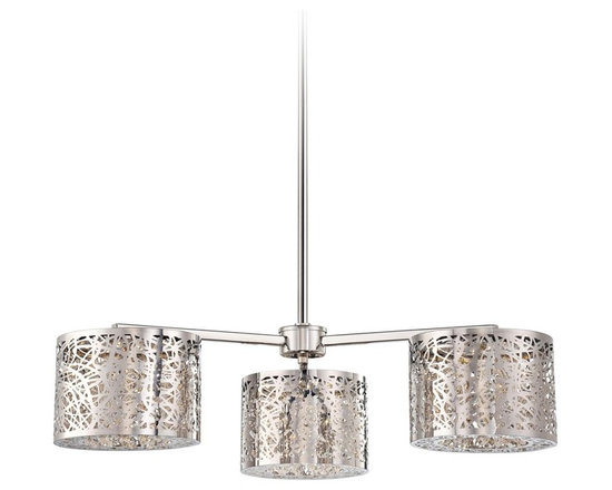 "George Kovacs - George Kovacs 27"" Wide Chrome LED Chandelier - This three light LED chrome chandelier is a great addition for homes with modern decor inspiration. The intricate openwork swirl design provides dimensional shine. A sleek chrome finish completes this stunning look. From George Kovacs. Chrome finish chandelier. Three light LED design. Openwork frame. Includes 96 LED array (40 total watts).  Adjustable hang height of 14 1/4"" to 50 1/4"". 27"" wide. 6 1/2"" high.  Chrome finish chandelier.  Three light LED design.  Design by George Kovacs.  Openwork frame.  Includes 96 LED array (40 total watts).   Adjustable hang height of 14 1/4"" to 50 1/4"".  27"" wide."