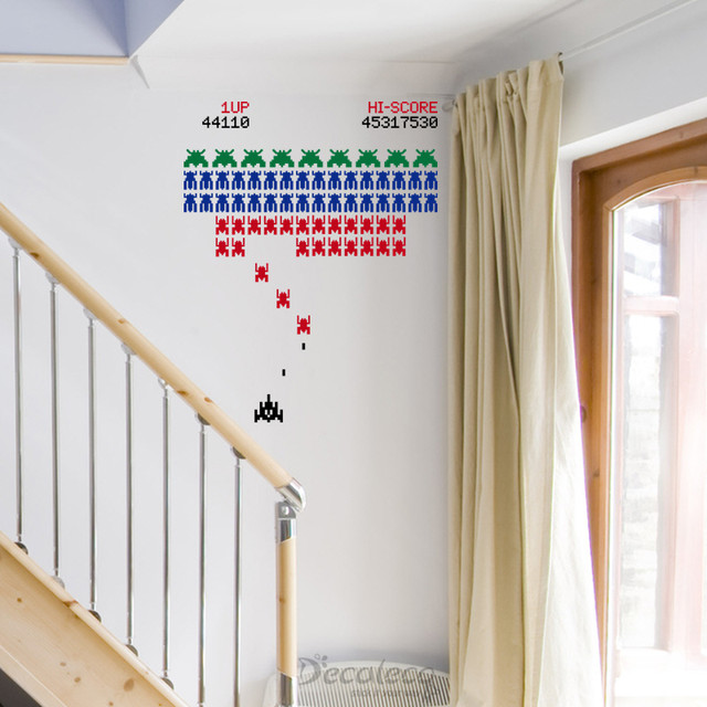 Retro Galaga like Arcade game with Space Invaders vinyl wall decal ...