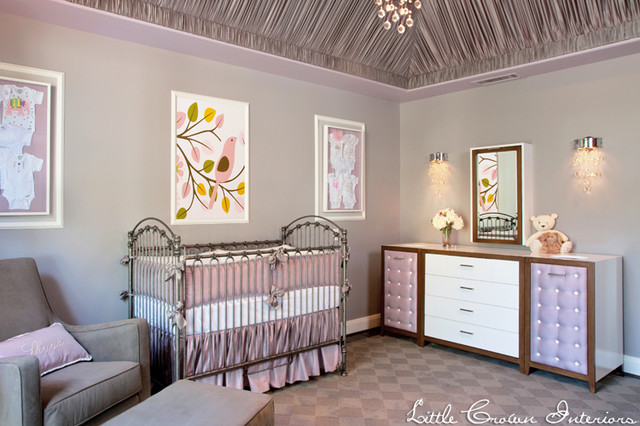 Lilac and Gray Girl's Nursery traditional-kids