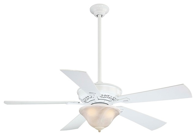 "Traditional 52"" Minka Aire Lisa II White Finish 5 Blade Ceiling Fan traditional-ceiling-fans"
