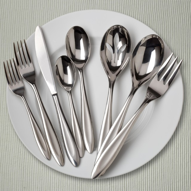 Ginkgo fontur 42 piece stainless steel flatware set contemporary flatware by - Contemporary stainless flatware ...