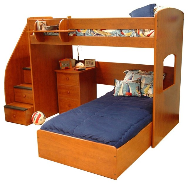Boys ' Twin Loft Bed with Storage Steps: Kids' & Teen Rooms : Walmart.