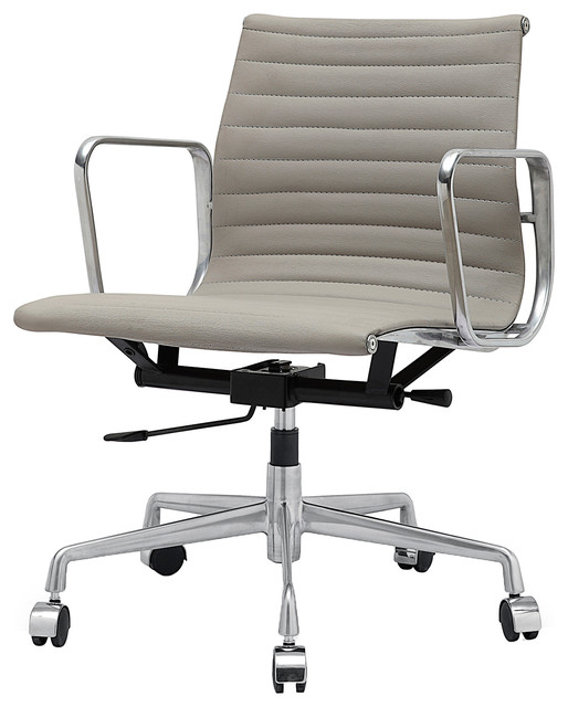 M341 Eames Style Aluminum Office Chair In Grey Italian Leather Midcentury