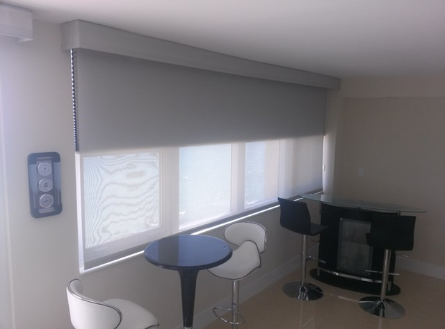 motorized solar roller shades with blackout cellular