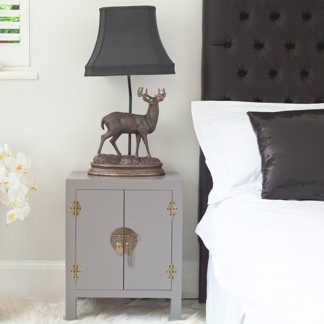 Rama Sita Slate Grey Bedside Cabinet Contemporary