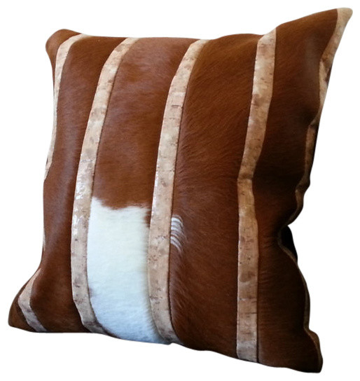 White Leather Throw Pillow : GR Brown & White Leather, Cowhide, & Cork Pillow 20